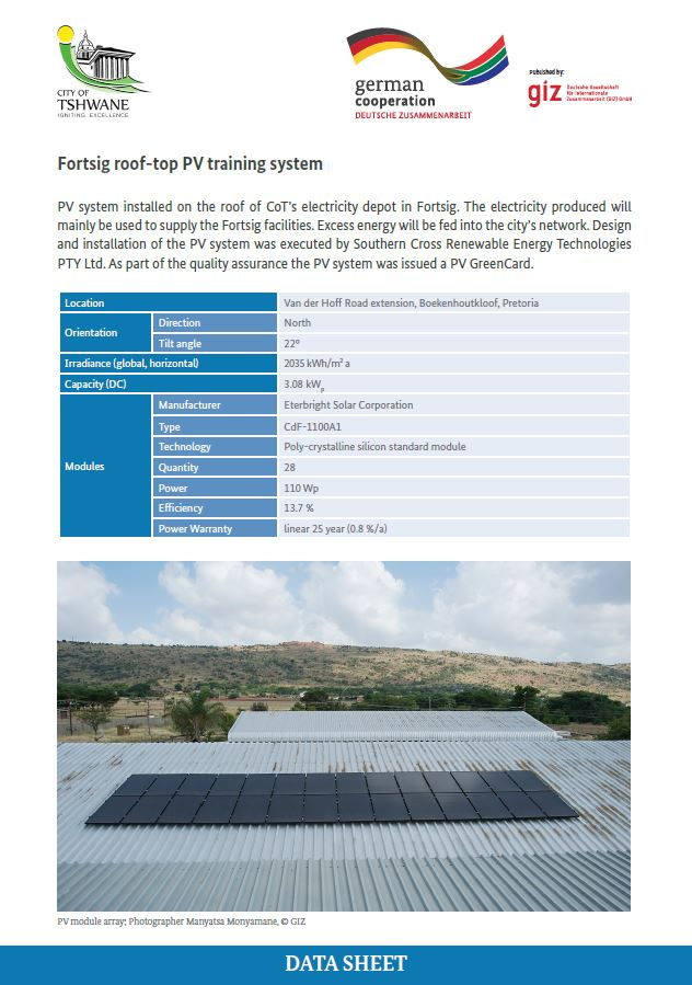 Data Sheet: City of Tshwane Fortsig Rooftop PV Training System