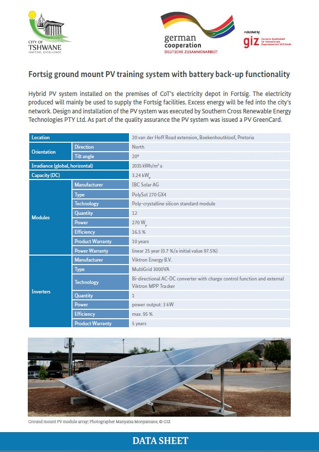 Data Sheet: City of Tshwane Fortsig ground-mounted PV Training System with battery back-up
