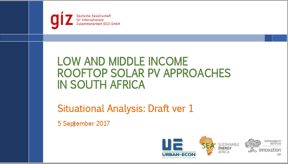 Discussion Paper: Low & Middle Income Grid Connected Solar PV Approaches in South Africa