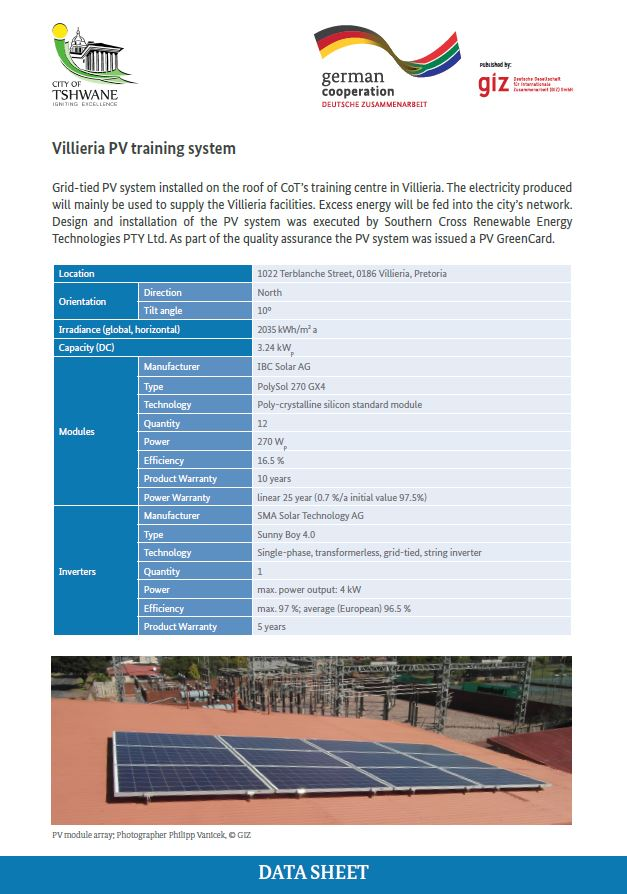 Data Sheet: City of Tshwane Villieria Rooftop PV Training System